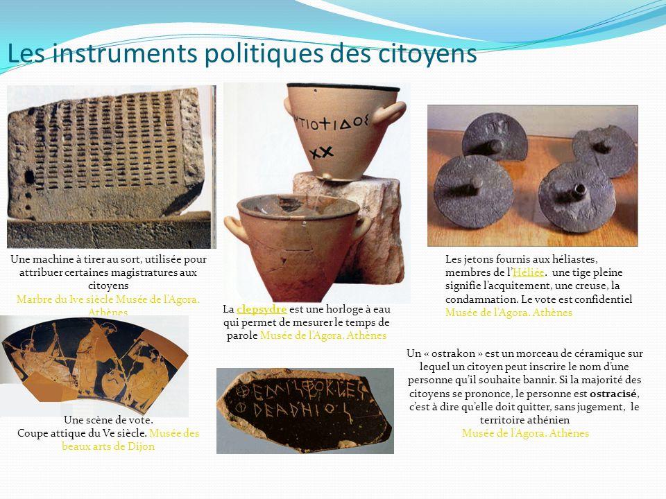 Les instruments politiques des citoyens La clepsydre est une horloge à eau qui permet de mesurer le temps de parole Musée de lAgora. Athènesclepsydre