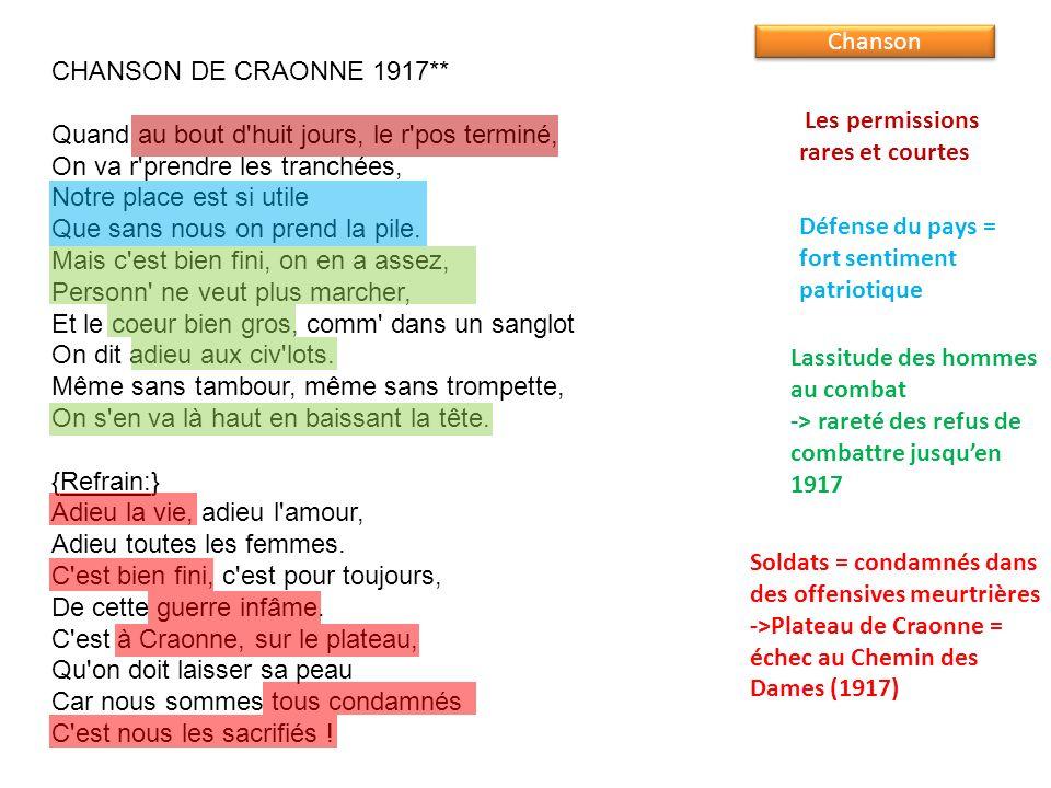 CHANSON DE CRAONNE 1917** Quand au bout d'huit jours, le r'pos terminé, On va r'prendre les tranchées, Notre place est si utile Que sans nous on prend