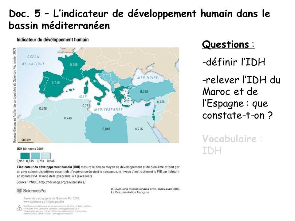 Doc. 5 – Lindicateur de développement humain dans le bassin méditerranéen Questions : -définir lIDH -relever lIDH du Maroc et de lEspagne : que consta