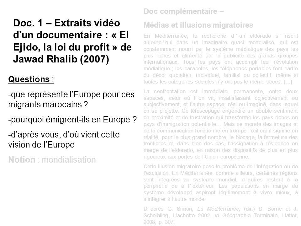 Doc. 1 – Extraits vidéo dun documentaire : « El Ejido, la loi du profit » de Jawad Rhalib (2007) Questions : -que représente lEurope pour ces migrants