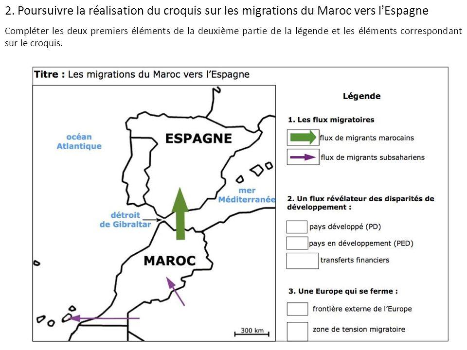 2. Poursuivre la réalisation du croquis sur les migrations du Maroc vers lEspagne Compléter les deux premiers éléments de la deuxième partie de la lég