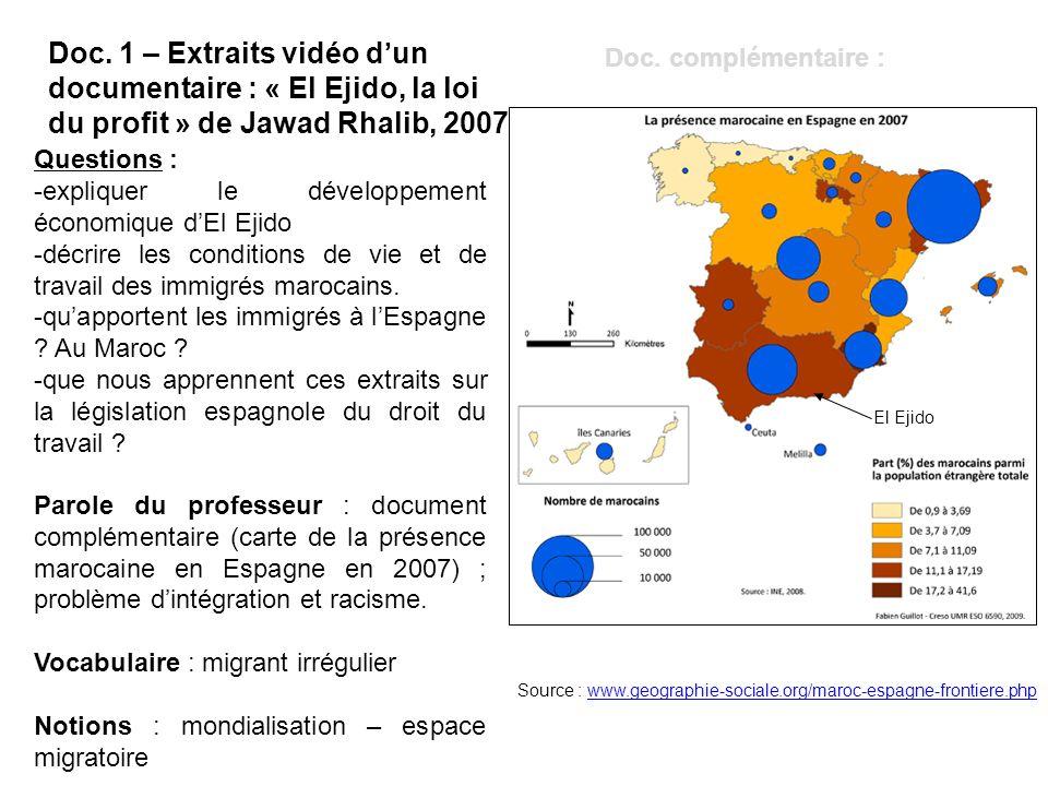 Questions : -expliquer le développement économique dEl Ejido -décrire les conditions de vie et de travail des immigrés marocains. -quapportent les imm