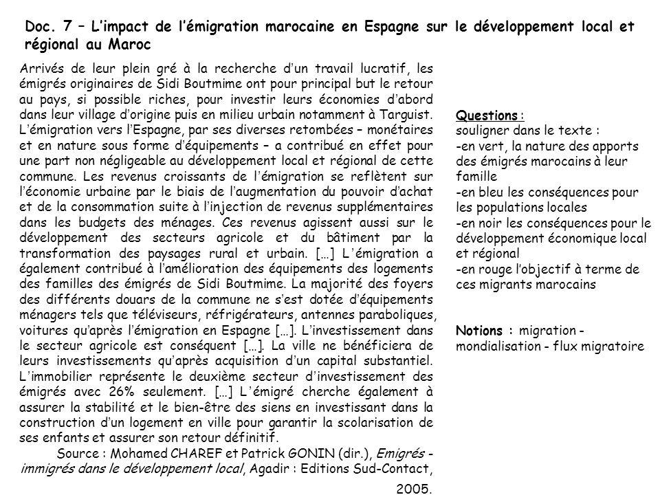 Doc. 7 – Limpact de lémigration marocaine en Espagne sur le développement local et régional au Maroc Arrivés de leur plein gré à la recherche dun trav