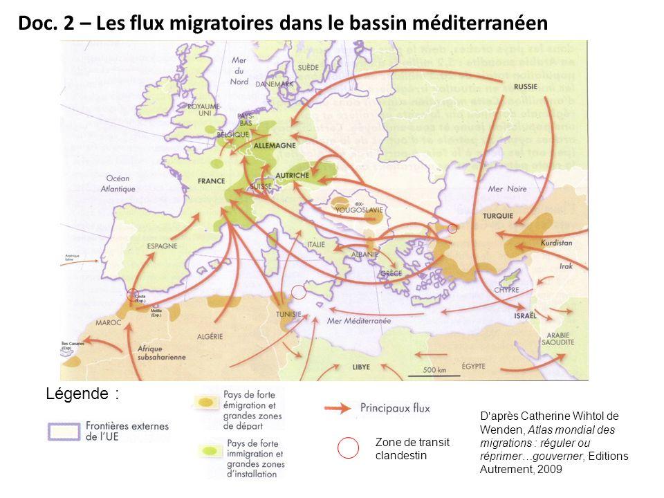 Légende : Zone de transit clandestin Daprès Catherine Wihtol de Wenden, Atlas mondial des migrations : réguler ou réprimer…gouverner, Editions Autreme