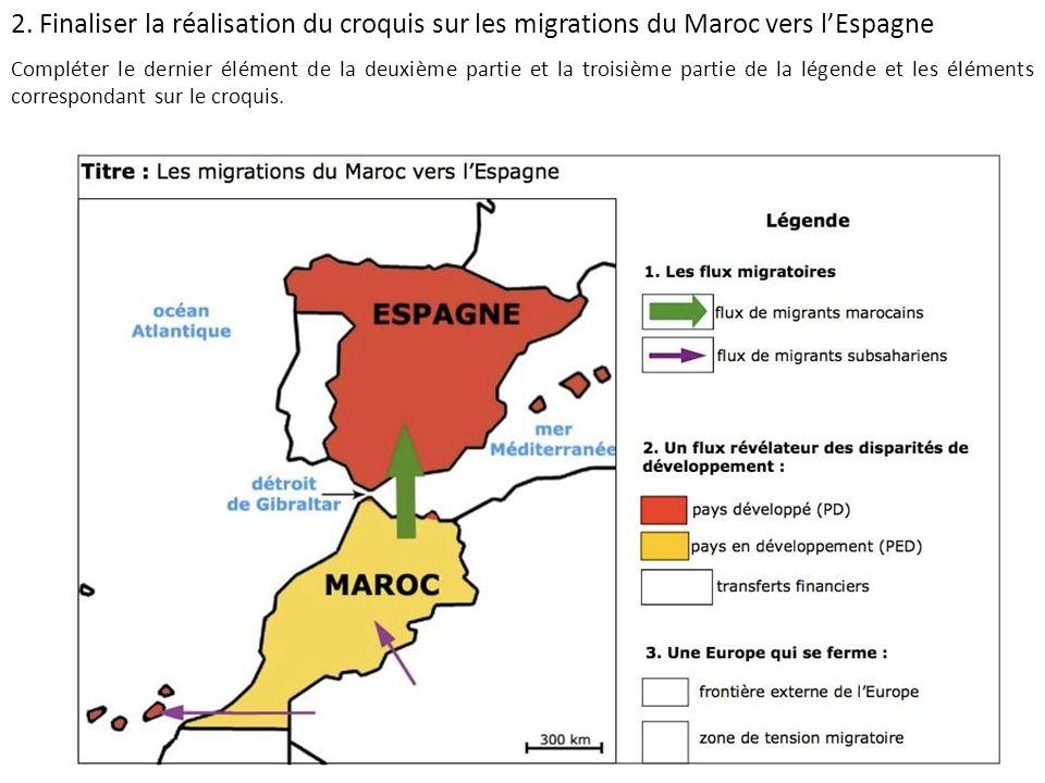 2. Finaliser la réalisation du croquis sur les migrations du Maroc vers lEspagne Compléter le dernier élément de la deuxième partie et la troisième pa