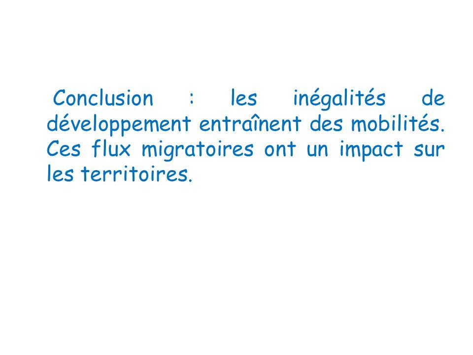 Conclusion : les inégalités de développement entraînent des mobilités. Ces flux migratoires ont un impact sur les territoires.