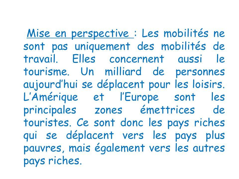 Mise en perspective : Les mobilités ne sont pas uniquement des mobilités de travail. Elles concernent aussi le tourisme. Un milliard de personnes aujo