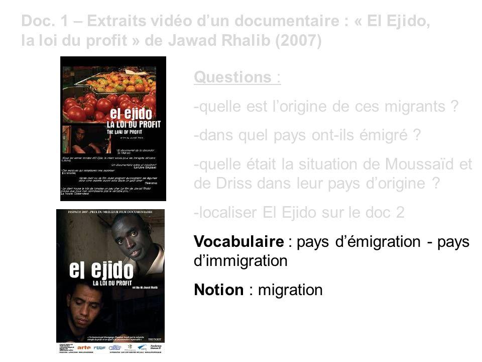 Doc. 1 – Extraits vidéo dun documentaire : « El Ejido, la loi du profit » de Jawad Rhalib (2007) Questions : -quelle est lorigine de ces migrants ? -d