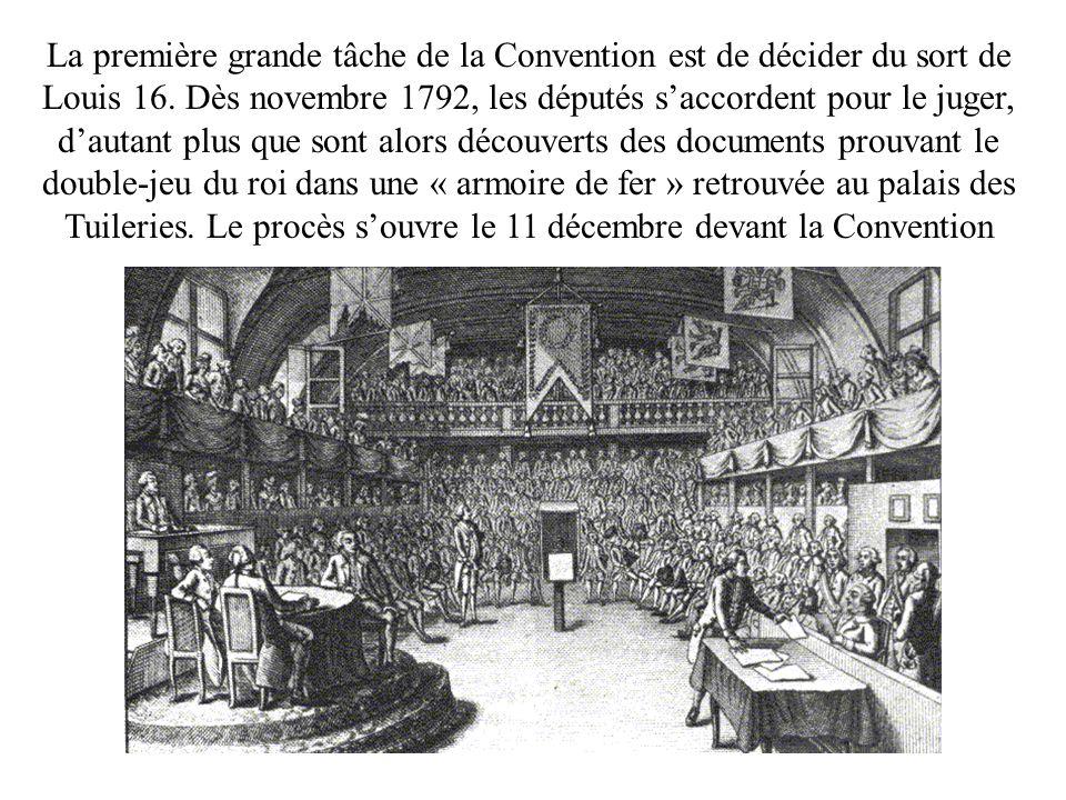 La première grande tâche de la Convention est de décider du sort de Louis 16.