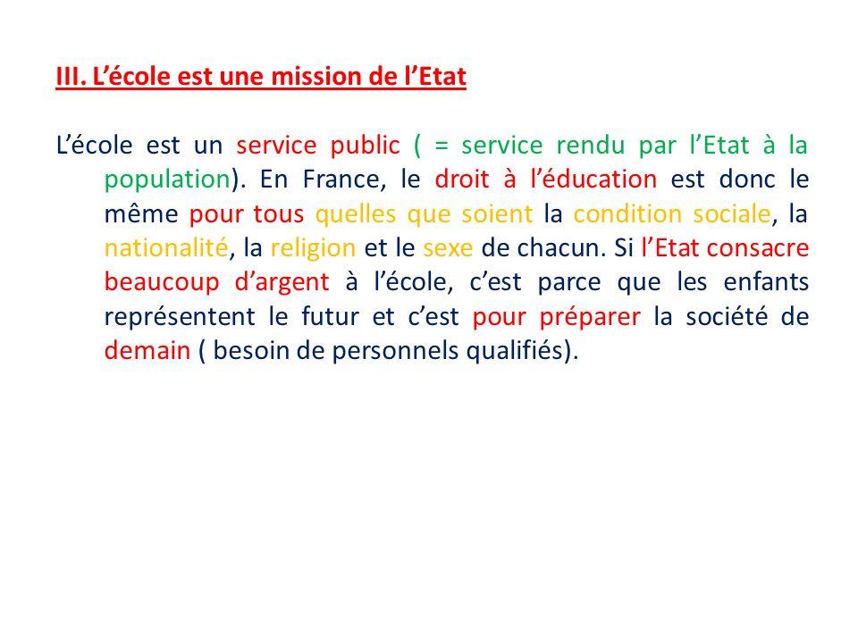 III. Lécole est une mission de lEtat Lécole est un service public ( = service rendu par lEtat à la population). En France, le droit à léducation est d