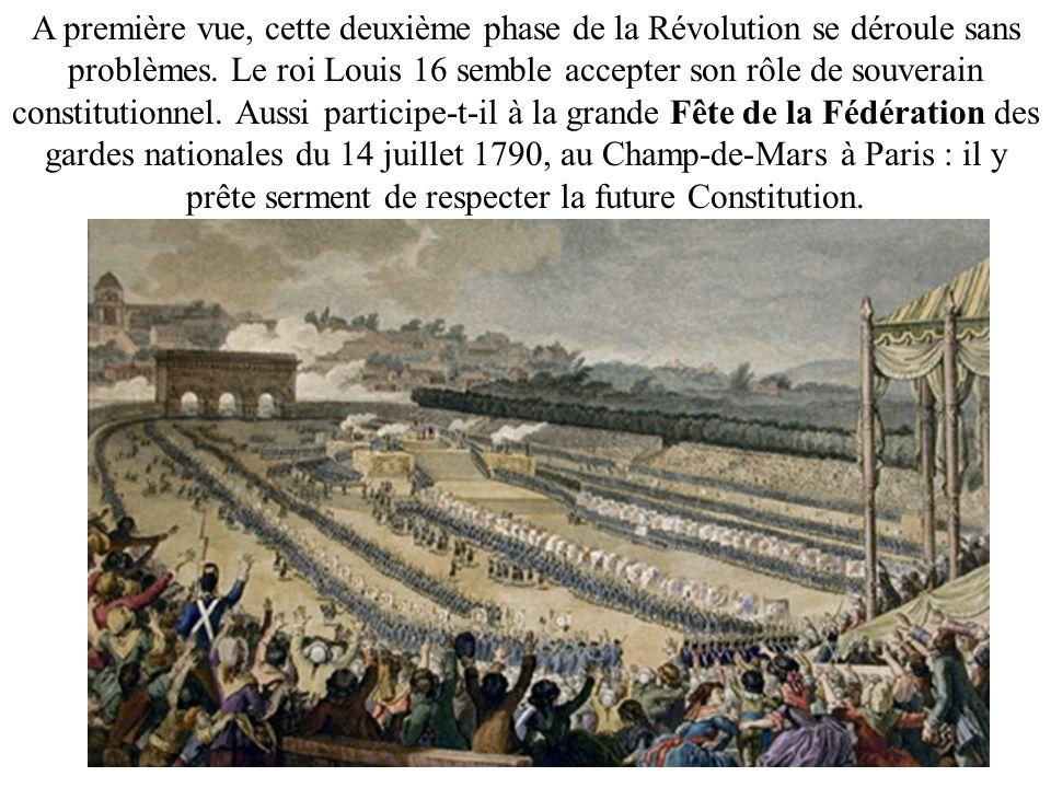 A première vue, cette deuxième phase de la Révolution se déroule sans problèmes. Le roi Louis 16 semble accepter son rôle de souverain constitutionnel