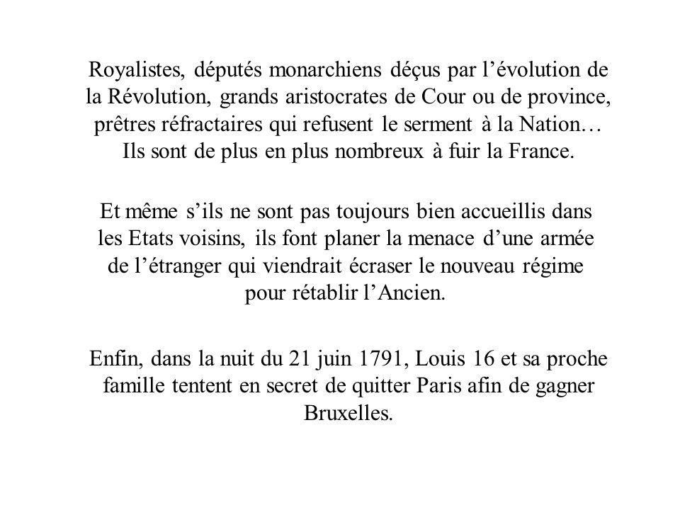 Royalistes, députés monarchiens déçus par lévolution de la Révolution, grands aristocrates de Cour ou de province, prêtres réfractaires qui refusent l