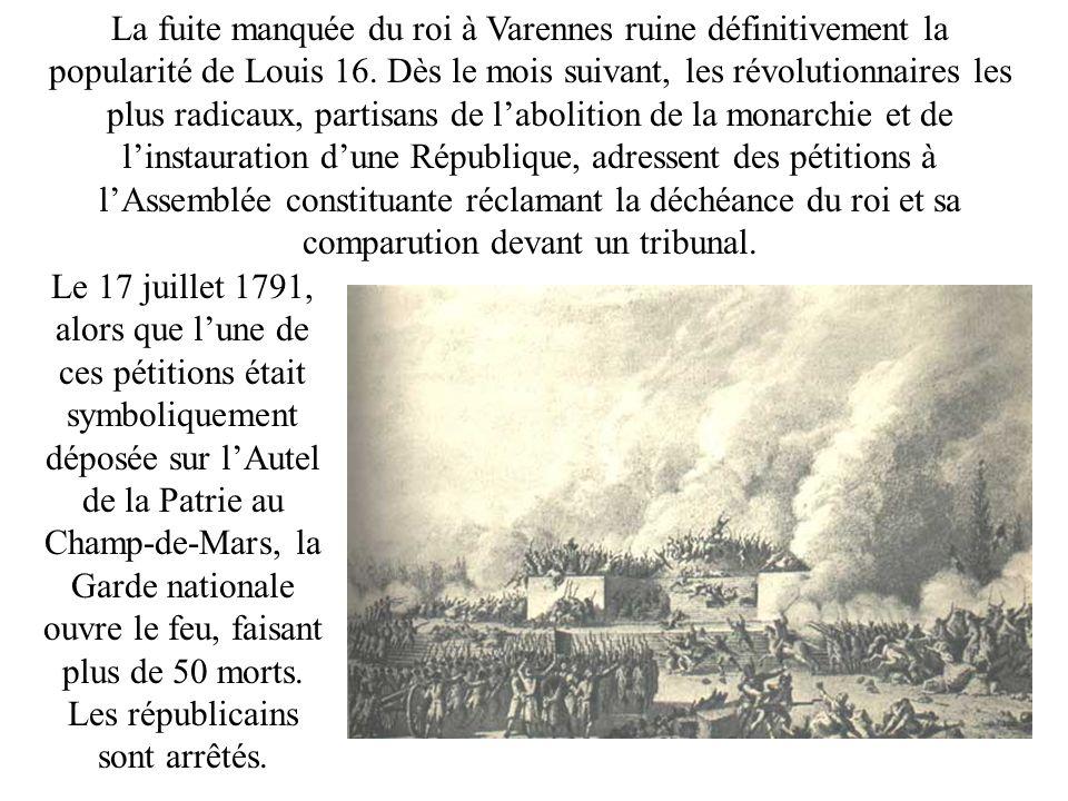 La fuite manquée du roi à Varennes ruine définitivement la popularité de Louis 16. Dès le mois suivant, les révolutionnaires les plus radicaux, partis