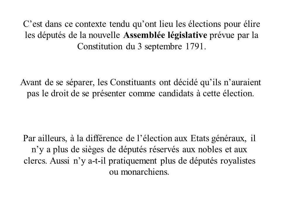 Cest dans ce contexte tendu quont lieu les élections pour élire les députés de la nouvelle Assemblée législative prévue par la Constitution du 3 septe