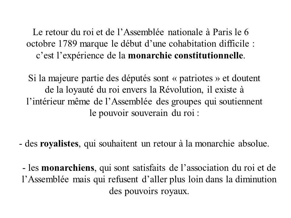 Le retour du roi et de lAssemblée nationale à Paris le 6 octobre 1789 marque le début dune cohabitation difficile : cest lexpérience de la monarchie c