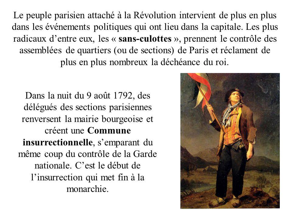 Le peuple parisien attaché à la Révolution intervient de plus en plus dans les événements politiques qui ont lieu dans la capitale. Les plus radicaux