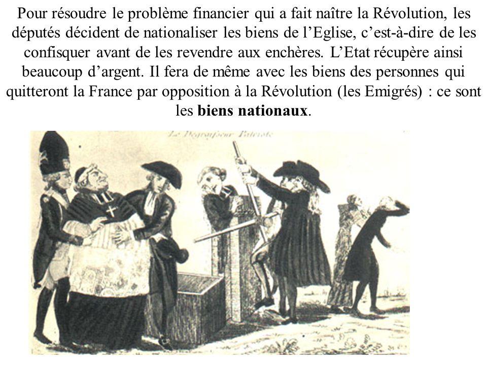 Pour résoudre le problème financier qui a fait naître la Révolution, les députés décident de nationaliser les biens de lEglise, cest-à-dire de les con