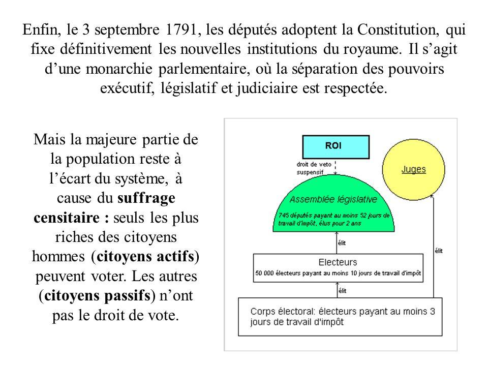 Enfin, le 3 septembre 1791, les députés adoptent la Constitution, qui fixe définitivement les nouvelles institutions du royaume. Il sagit dune monarch