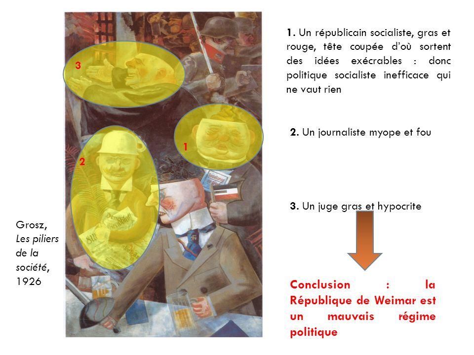 Grosz, Les piliers de la société, 1926 1 1. Un républicain socialiste, gras et rouge, tête coupée doù sortent des idées exécrables : donc politique so
