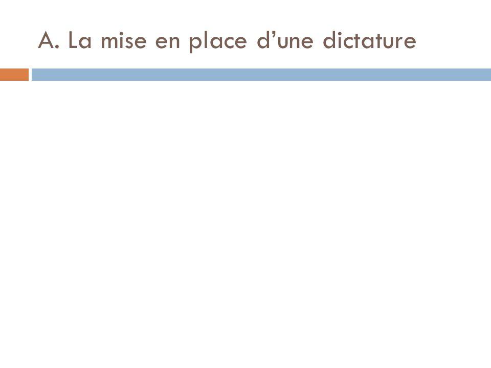 A. La mise en place dune dictature