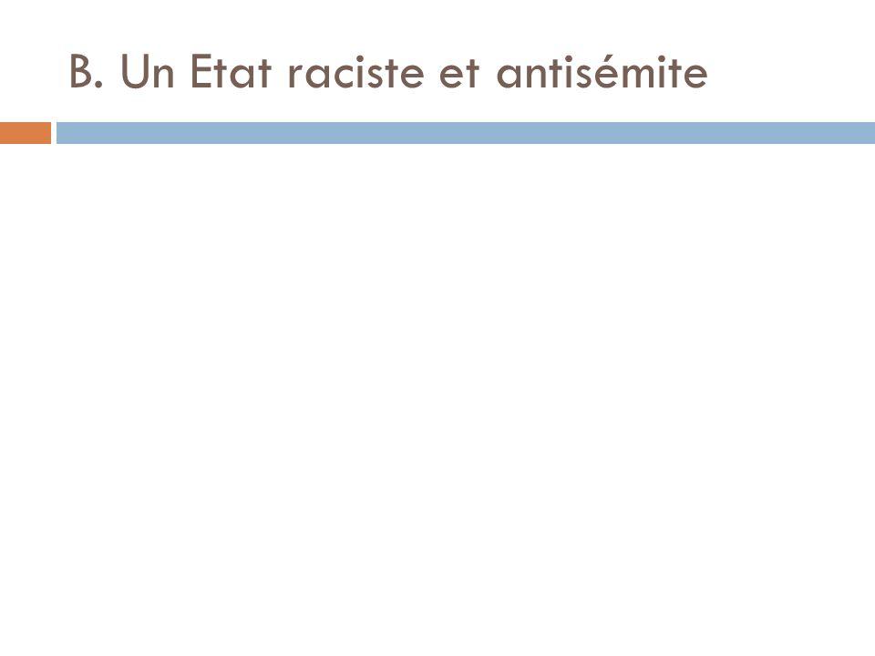 B. Un Etat raciste et antisémite