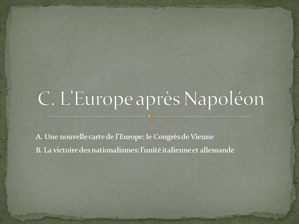 A. Une nouvelle carte de lEurope: le Congrès de Vienne B. La victoire des nationalismes: lunité italienne et allemande
