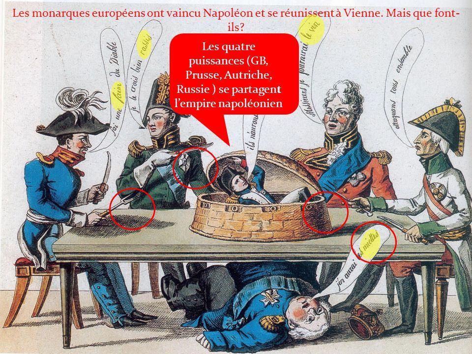 Les monarques européens ont vaincu Napoléon et se réunissent à Vienne. Mais que font- ils? Les quatre puissances (GB, Prusse, Autriche, Russie ) se pa