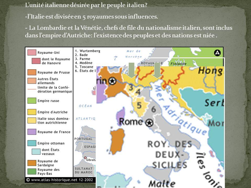 Lunité italienne désirée par le peuple italien? -lItalie est divisée en 5 royaumes sous influences. - La Lombardie et la Vénétie, chefs de file du nat