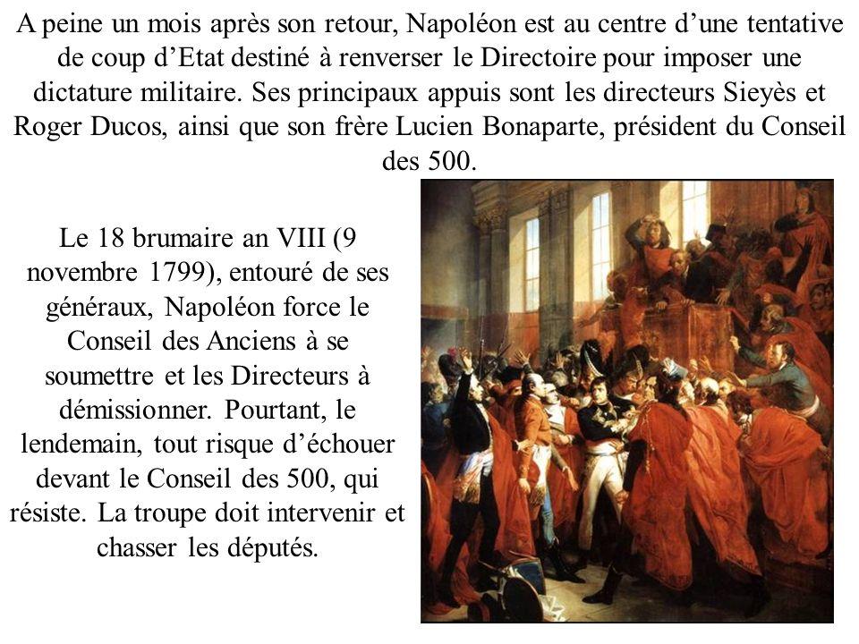 A peine un mois après son retour, Napoléon est au centre dune tentative de coup dEtat destiné à renverser le Directoire pour imposer une dictature mil