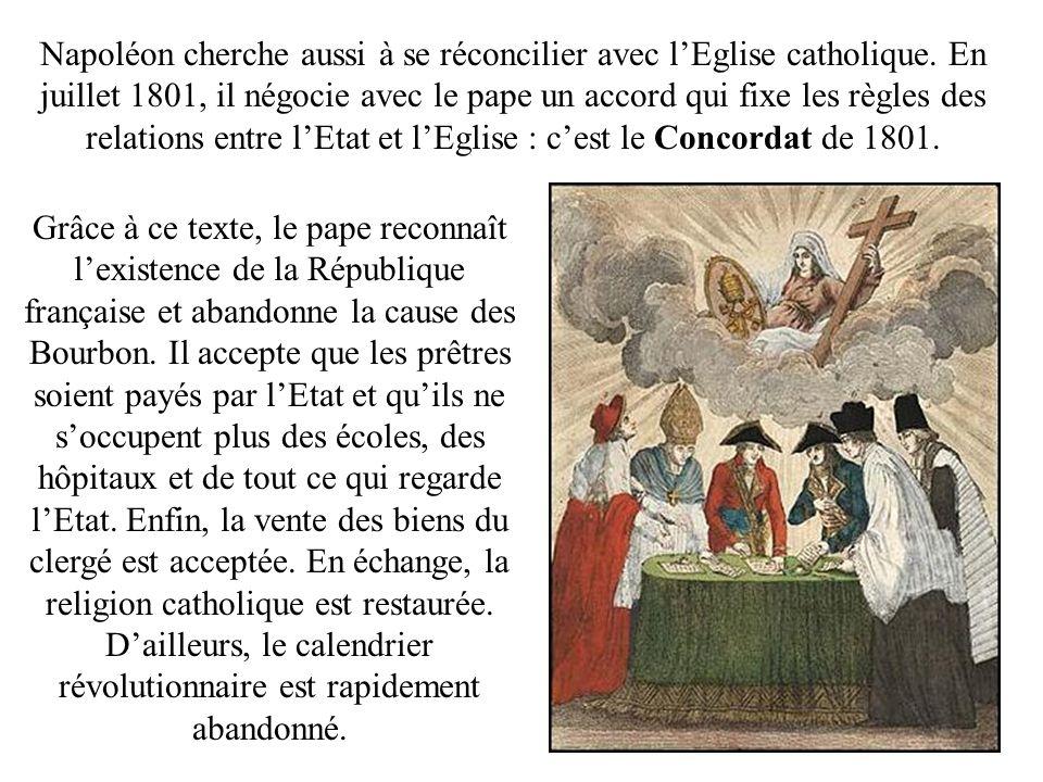 Napoléon cherche aussi à se réconcilier avec lEglise catholique. En juillet 1801, il négocie avec le pape un accord qui fixe les règles des relations