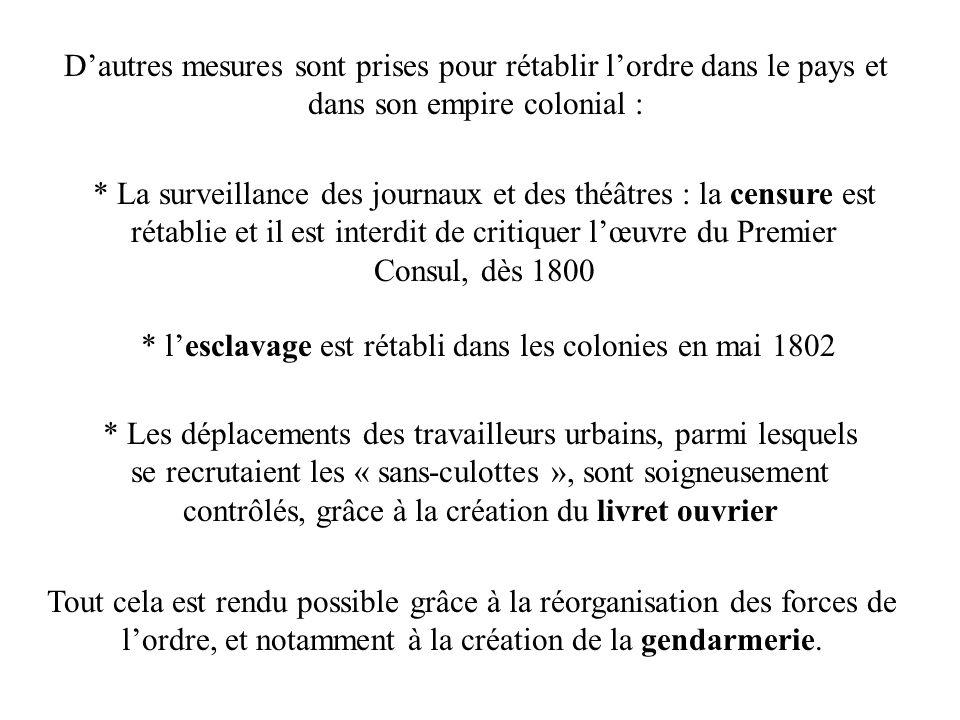 Dautres mesures sont prises pour rétablir lordre dans le pays et dans son empire colonial : * La surveillance des journaux et des théâtres : la censur