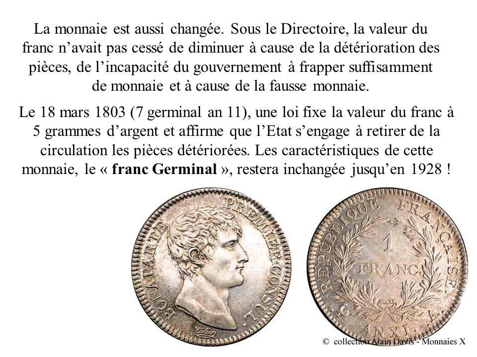 La monnaie est aussi changée. Sous le Directoire, la valeur du franc navait pas cessé de diminuer à cause de la détérioration des pièces, de lincapaci