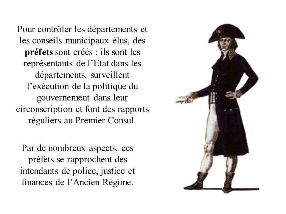 Pour contrôler les départements et les conseils municipaux élus, des préfets sont créés : ils sont les représentants de lEtat dans les départements, s