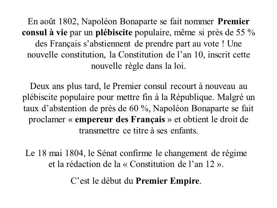 En août 1802, Napoléon Bonaparte se fait nommer Premier consul à vie par un plébiscite populaire, même si près de 55 % des Français sabstiennent de pr