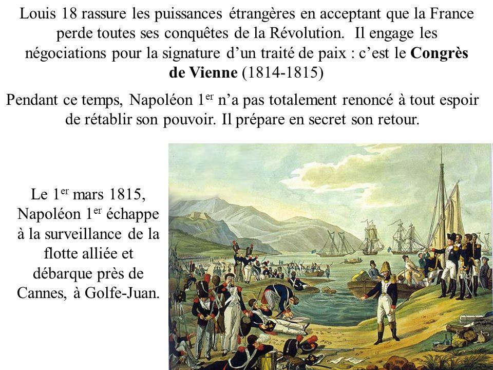 Louis 18 rassure les puissances étrangères en acceptant que la France perde toutes ses conquêtes de la Révolution. Il engage les négociations pour la