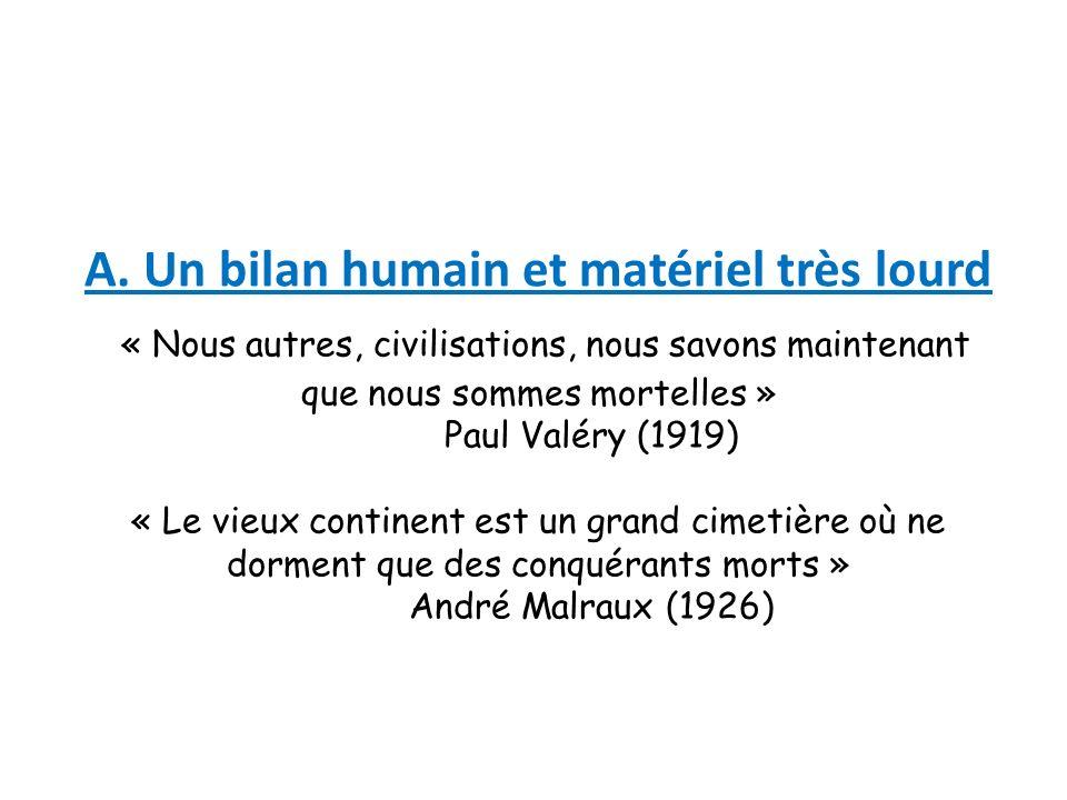 A. Un bilan humain et matériel très lourd « Nous autres, civilisations, nous savons maintenant que nous sommes mortelles » Paul Valéry (1919) « Le vie
