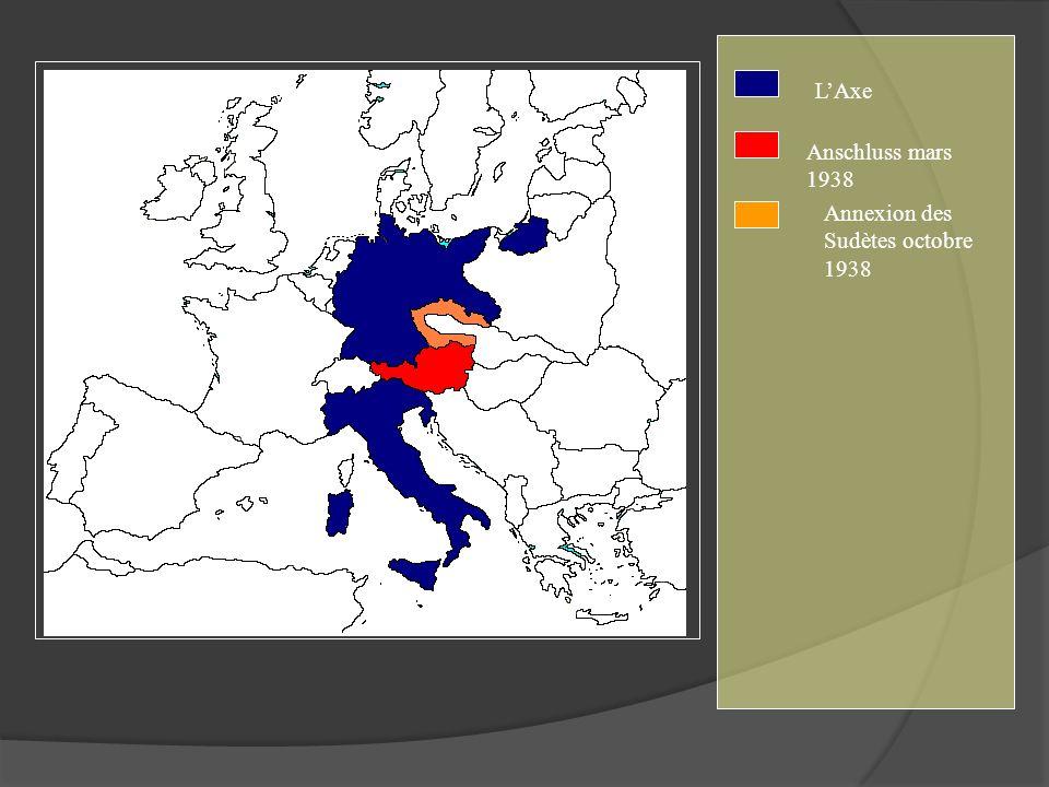 LAxe Anschluss mars 1938 Annexion des Sudètes octobre 1938