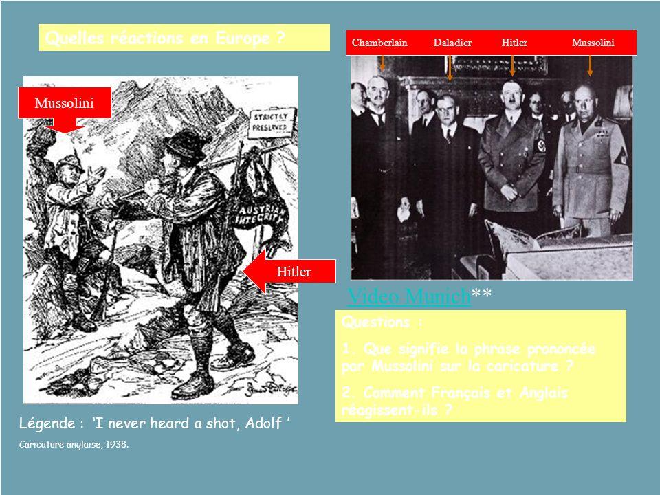 Quelles réactions en Europe ? Questions : 1. Que signifie la phrase prononcée par Mussolini sur la caricature ? 2. Comment Français et Anglais réagiss