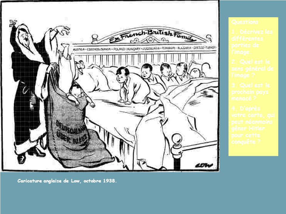 Caricature anglaise de Low, octobre 1938. Questions 1. Décrivez les différentes parties de limage. 2. Quel est le sens général de limage ? 3. Quel est