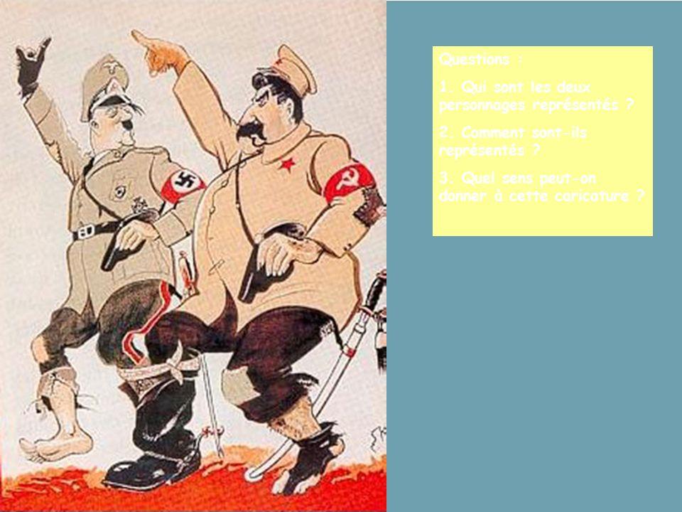 Questions : 1. Qui sont les deux personnages représentés ? 2. Comment sont-ils représentés ? 3. Quel sens peut-on donner à cette caricature ?