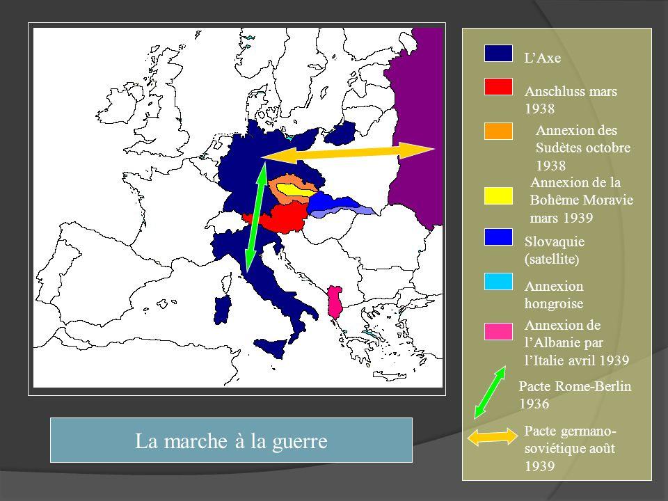 LAxe Anschluss mars 1938 Annexion des Sudètes octobre 1938 Annexion de la Bohême Moravie mars 1939 Slovaquie (satellite ) Annexion hongroise Annexion