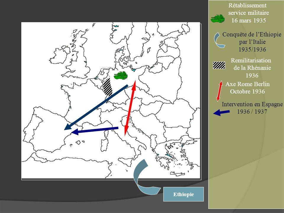 Rétablissement service militaire 16 mars 1935 Ethiopie Conquête de lEthiopie par lItalie 1935/1936 Axe Rome Berlin Octobre 1936 Intervention en Espagn