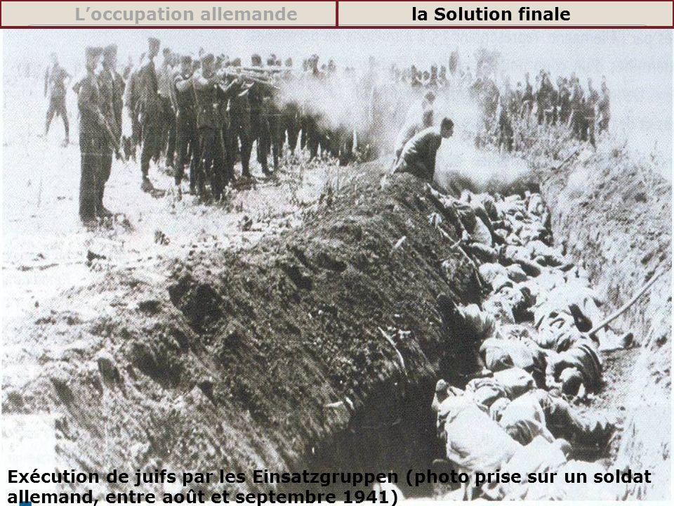 Exécution de juifs par les Einsatzgruppen (photo prise sur un soldat allemand, entre août et septembre 1941) Loccupation allemandela Solution finale