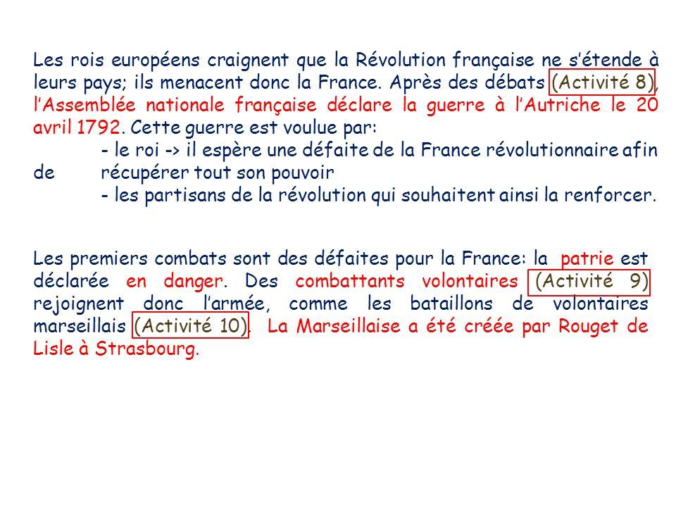 Les rois européens craignent que la Révolution française ne sétende à leurs pays; ils menacent donc la France. Après des débats (Activité 8), lAssembl