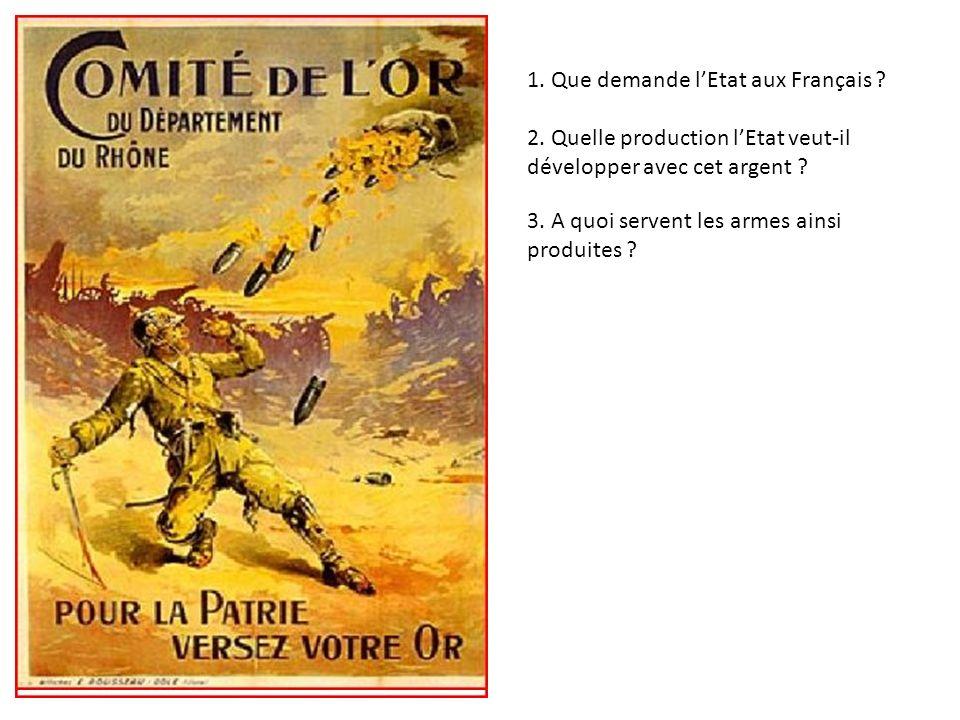 1. Que demande lEtat aux Français ? 2. Quelle production lEtat veut-il développer avec cet argent ? 3. A quoi servent les armes ainsi produites ?