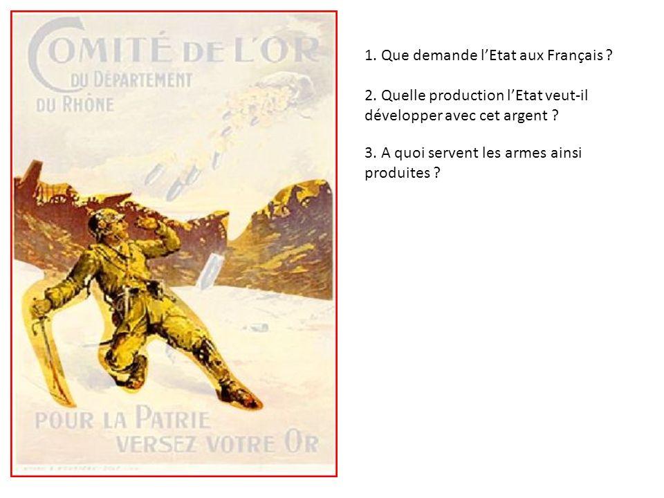 1. Que demande lEtat aux Français ? 2. Quelle production lEtat veut-il développer avec cet argent ? 3. A quoi servent les armes ainsi produites ? Afin