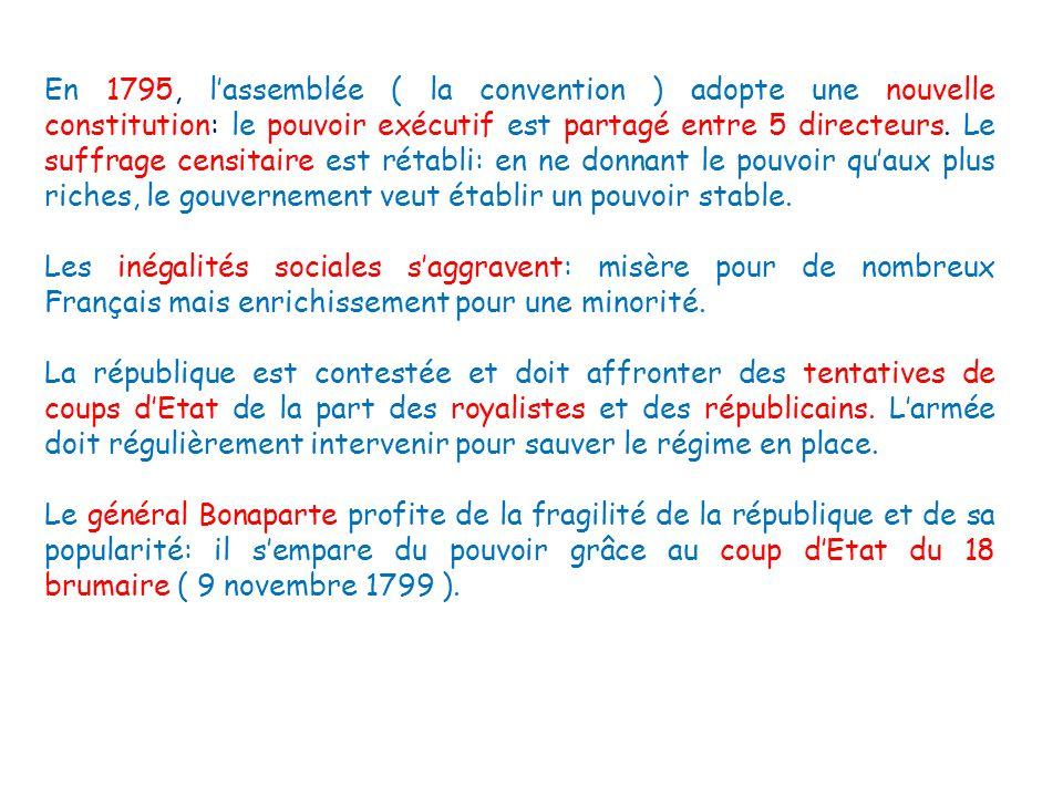 En 1795, lassemblée ( la convention ) adopte une nouvelle constitution: le pouvoir exécutif est partagé entre 5 directeurs. Le suffrage censitaire est