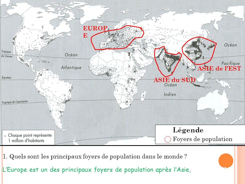 EUROP E ASIE du SUD ASIE de lEST 1.Quels sont les principaux foyers de population dans le monde .
