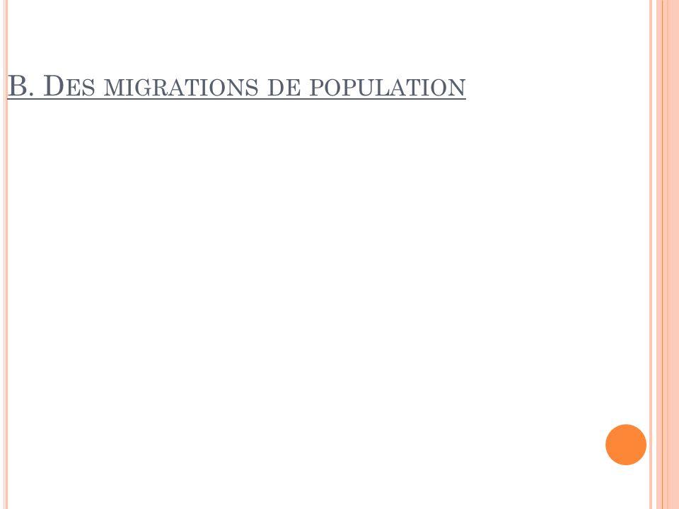B. D ES MIGRATIONS DE POPULATION
