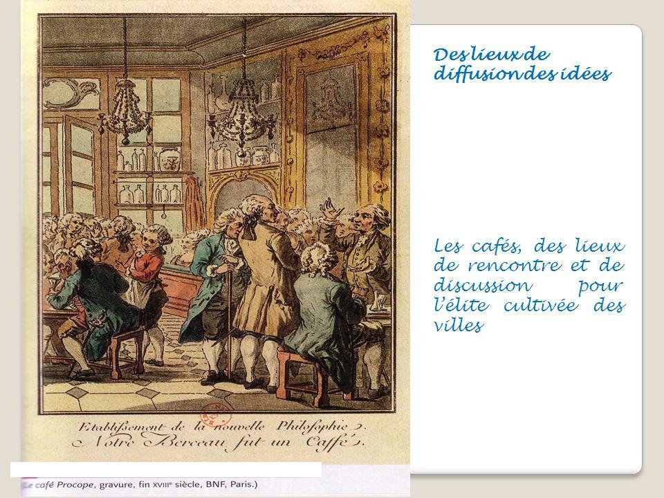 Des lieux de diffusion des idées Les cafés, des lieux de rencontre et de discussion pour lélite cultivée des villes